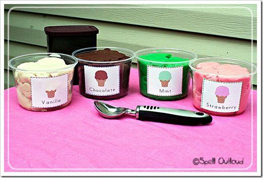 Ijswinkeltje van ijsjes met klei