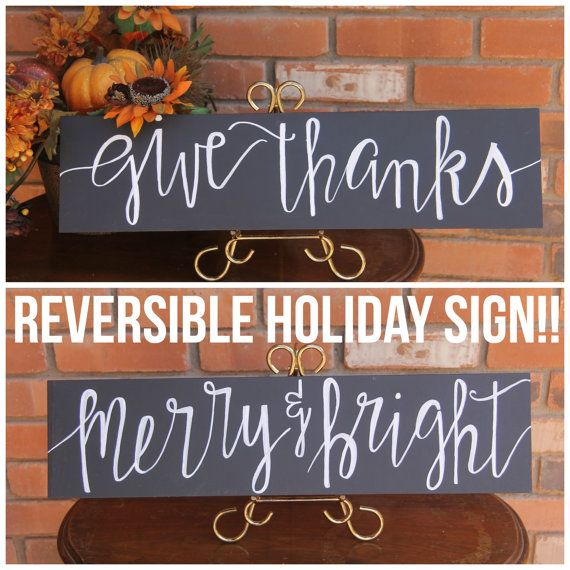 ***Give Thanks Merry & Bright*** Let me make the Holidays easier for you with this two-in-one Chalkboard sign! its easy, all you do is display the