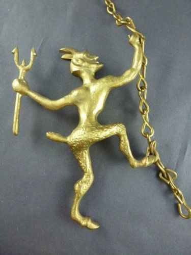 VINTAGE-BRASS-DEVIL-SATAN-FIREPLACE-DAMPER-PULL-CHAIN