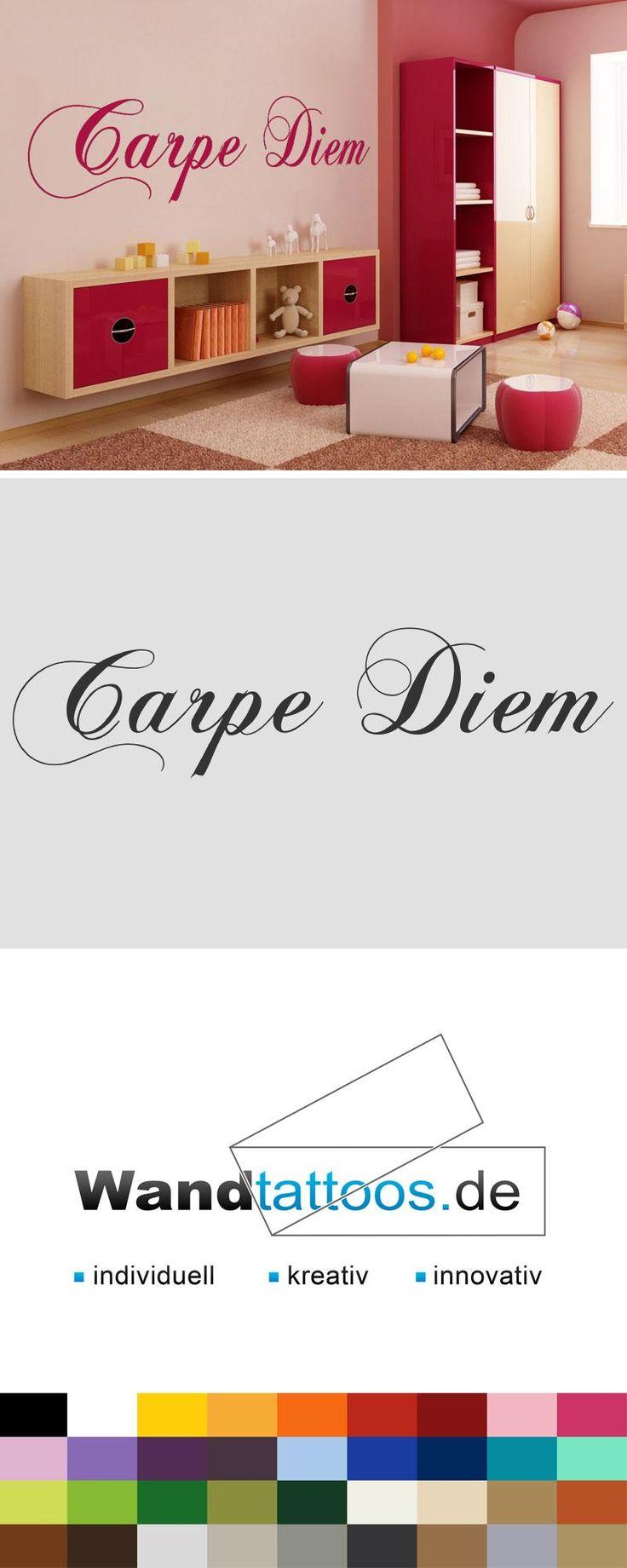 Wandtattoo Carpe Diem als Idee zur individuellen Wandgestaltung. Einfach Lieblingsfarbe und Größe auswählen. Weitere kreative Anregungen von Wandtattoos.de hier entdecken!