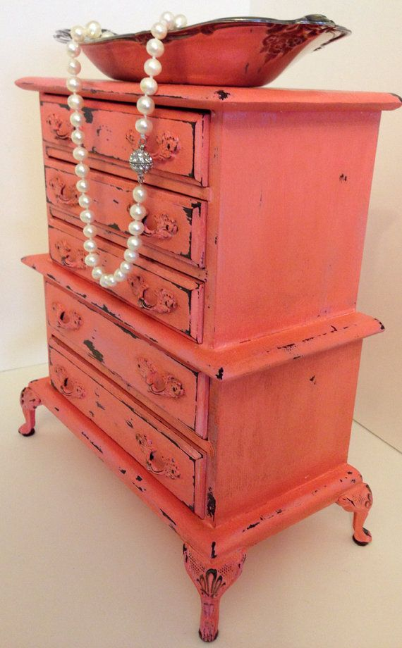 coral furniture. upcycled coral and pink distressed music jewelry box on etsy 7000 furniture