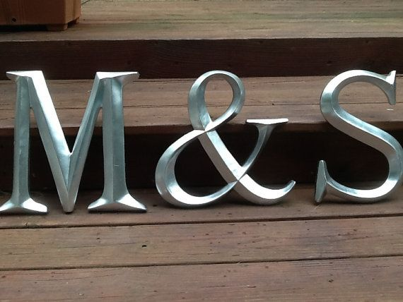 Large Wall Initials Letters and Ampersand You by ShabbyGoesChic, $64.95