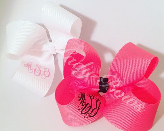 Custom Bow, White Bow, Girl bows, Hair bows, Monogrammed Bows, boutique bows, personalized bows, girls bows, cheer bows, customized bow