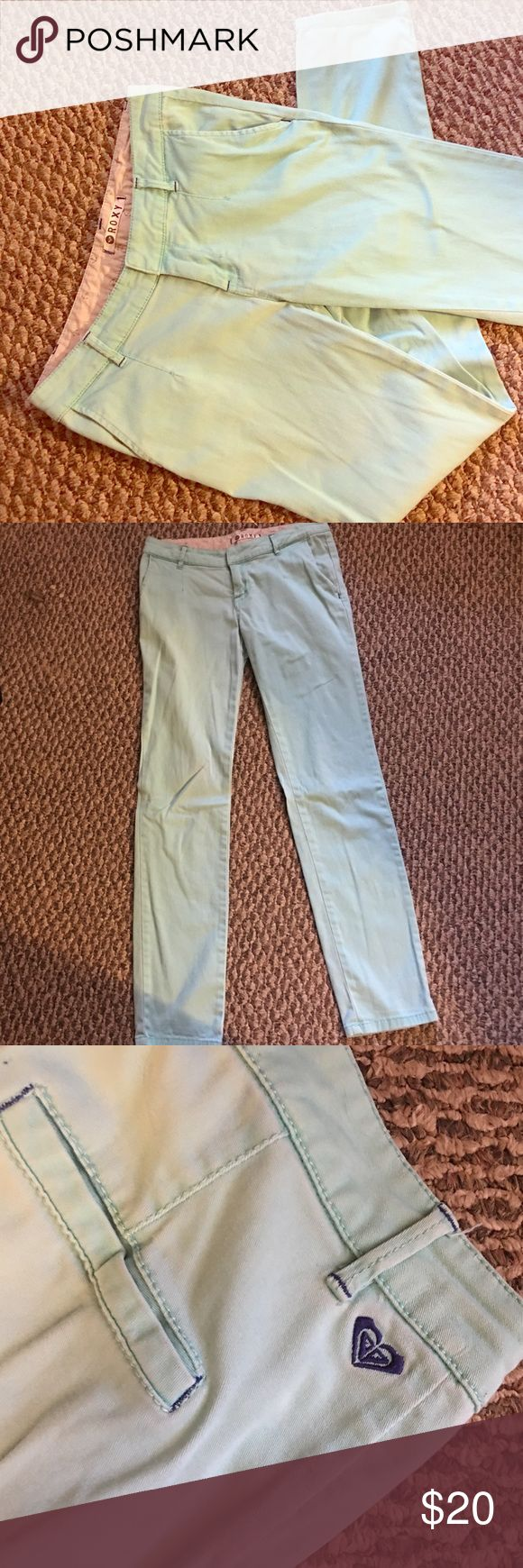 """Roxy """"chino"""" pants Super cute real or turquoise pants! It had a missing button but still latches with the silver clip. Can be easily fixed if you have extra buttons. Other than that they are in excellent condition and can be dressed up or casual. Smoke free home and discounts on bundles 💕 Roxy Pants Skinny"""