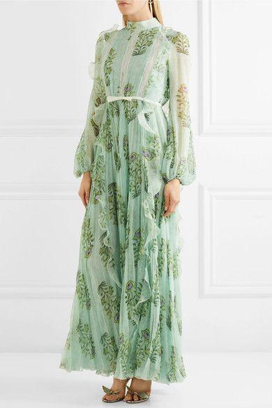 Giambattista Valli - Ruffled Lace-trimmed Floral-print Silk-chiffon Gown - Green