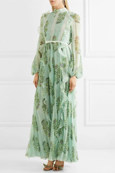 Giambattista Valli | Ruffled lace-trimmed floral-print silk-chiffon gown | NET-A-PORTER.COM