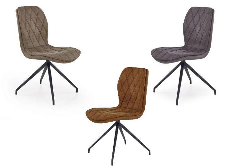 Krzesło K237 w popularnym stylu LOFT ma eleganckie oparcie i siedzisko z ozdobnymi przeszyciami modnych kolorach: szarym, brązowym oraz beżowym