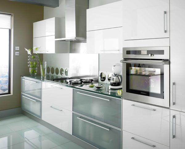White Gloss Frosted Glass Kitchen