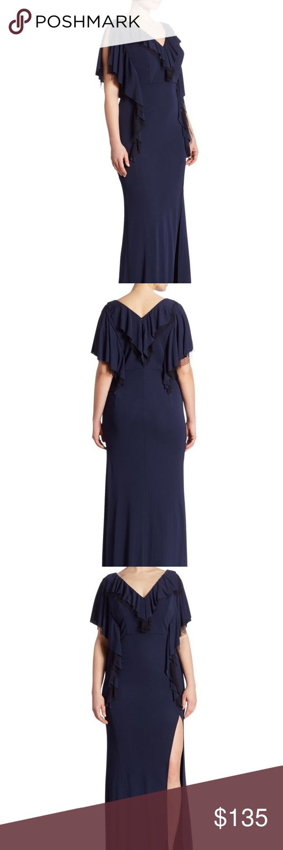 ABS Allen Schwartz dress Like new!  Not sure if this was ever worn or not but unable to find a flaw!  Matte jersey ruffle gown in navy with black trimming under ruffle. This is a gorgeous dress that is a 1x (14-16).  Perfect gown for a holiday party!  Please ask if u have any questions! ABS Allen Schwartz Dresses Maxi