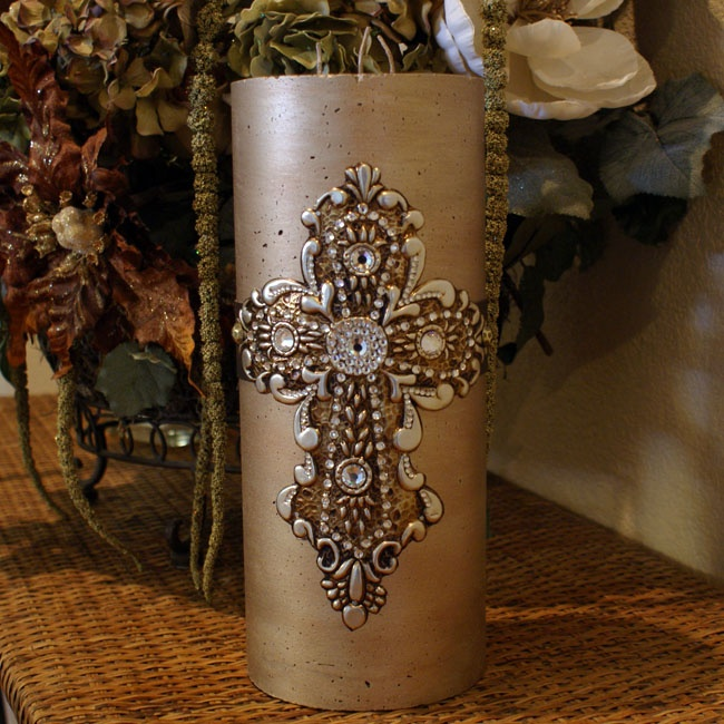 Cross decorative candle swarovski pillar candle 5 x 12 for Bathroom decor with candles