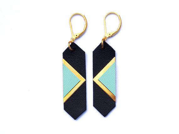 Boucles d'oreilles pastel cuir, bijou fait main, made in france, noir