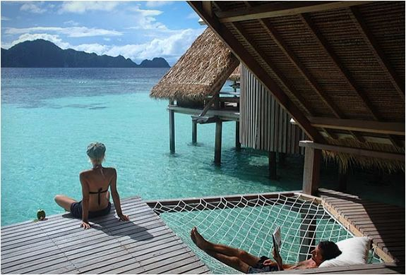 It would take a couple o hours to get me out of that hammock. Nonetheless, I want to go here. Misool Eco Resort in Raja Ampat, Indonesia.