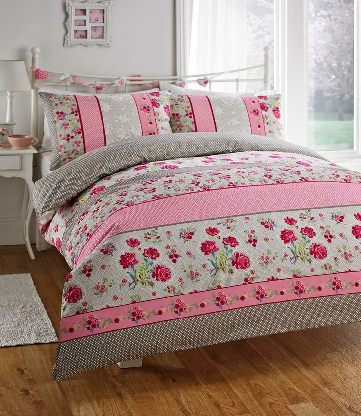 Duvet Cover Set With A Shabby Style And A Chic Twist. Dominique Duvet Cover  Set In Pink Or Red. Cheap Bedding With An Online UK Seller Chic At Home