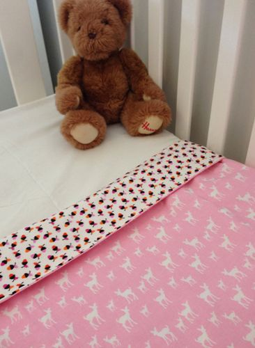 Organic Cot Quilt Pink Deer #beanandme #organic #nursery #nurserydecor #cotquilt #cotblanket #playmat #picnicrug #nurseryideas