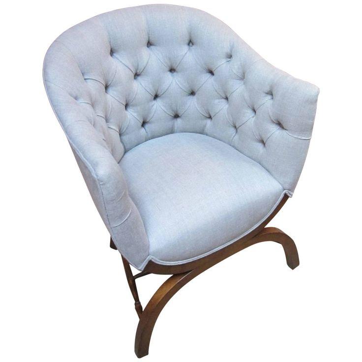 19th c english tufted desk chair