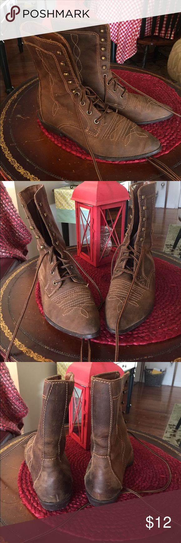 Brown Ankle Boots Great condition, leather upper. Made in Brazil. The brand is illegible... possibly from a store like Charlotte Russe, Wet Seal??? Shoes Ankle Boots & Booties