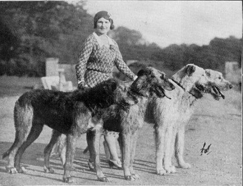 Patsy Rank with her Irish wolfhounds.