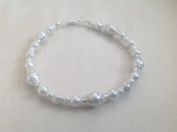 White Glass Pearl and Silver Beaded Bracelet by EverGracefulGifts