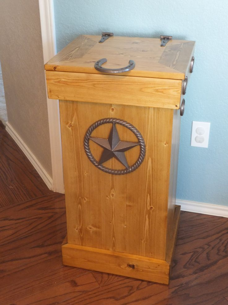 WOODEN TRASH CAN WASTE BASKET BIN 30 GAL WESTERN RUSTIC CABIN DECOR