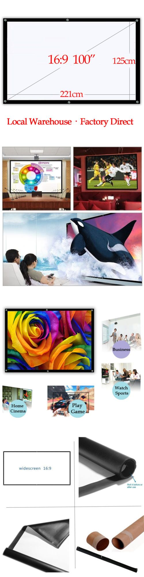 Projection Screens and Material: 100 Portable Projector Screen For Outdoor Backyard Home Cinema 16:9 Hd Movies -> BUY IT NOW ONLY: $36.99 on eBay!