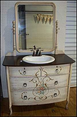 Photo of Front View - Antique Bathroom Vanity: Hand Painted Antique Dresser for Bathroom Vanity with Sink