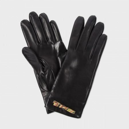 Paul Smith Women's Gloves - Black Leather Swirl Print Bow Gloves