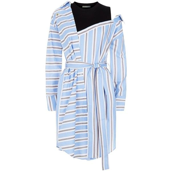 Maje Stripe Shirt Dress (3.930.820 IDR) ❤ liked on Polyvore featuring dresses, day to night dresses, stripe dresses, long shirt dress, asymmetrical striped dress and blue embroidered dress
