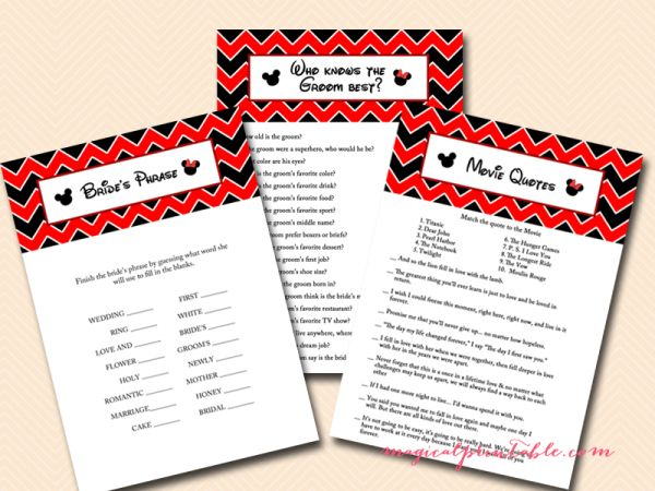 disneyland bridal shower games, disney, mickey mouse, minnie mouse, bridal shower bs116