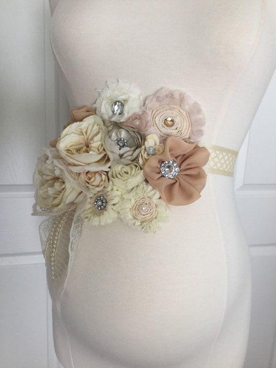 Gorgeous Vintage Beige Ivory Maternity Sash/Birdal Sash/Baby Shower Gift/Maternity photo props/senior photo/Belly Belt/Very full sash
