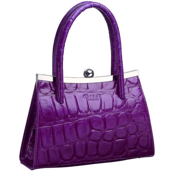 Osprey London The Audrey Mock Croc Leather Grab Bag, Purple, one size (445 CAD) ❤ liked on Polyvore featuring bags, handbags, shoulder bags, purple, accessories, purses, bolsa, osprey london, leather purse and leather shoulder handbags