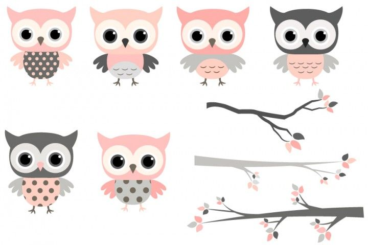 Pink And Grey Owls Set Cute Owl Clipart Kawaii Owls Clip Art Girl Owls On Branches Baby Shower Clipart By P Owl Clip Art Baby Shower Clipart Owl Valentines