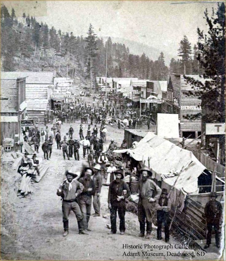 A photo of Deadwood, Black Hills, Dakota Territory in August 1876. Gold was discovered in Whitewood Creek in December 1875. The town mushroomed the next spring. August 1876.