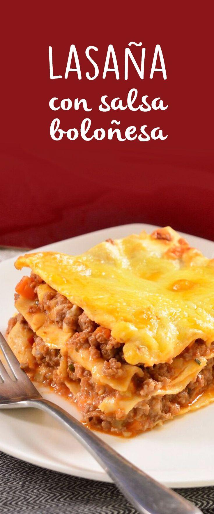 Lasaña Con Salsa Boloñesa Receta Comida Recetas De Comida Recetas De Cocina