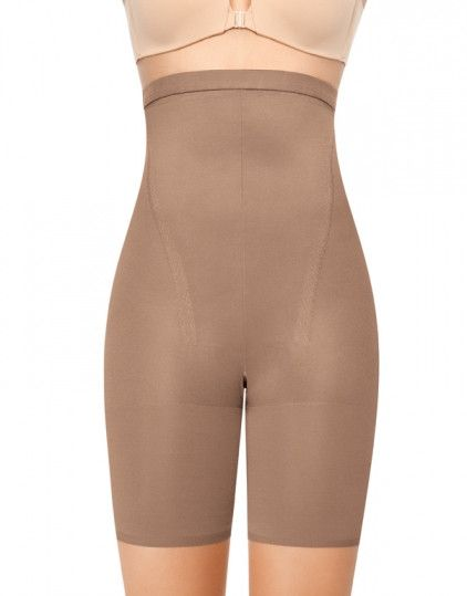 Whittle your middle with the Super Higher Power, a high-waisted, mid-thigh shaper with tummy control. Perfect for shorter-length dresses and skirts, but also works like a charm under pants. - Fabric c
