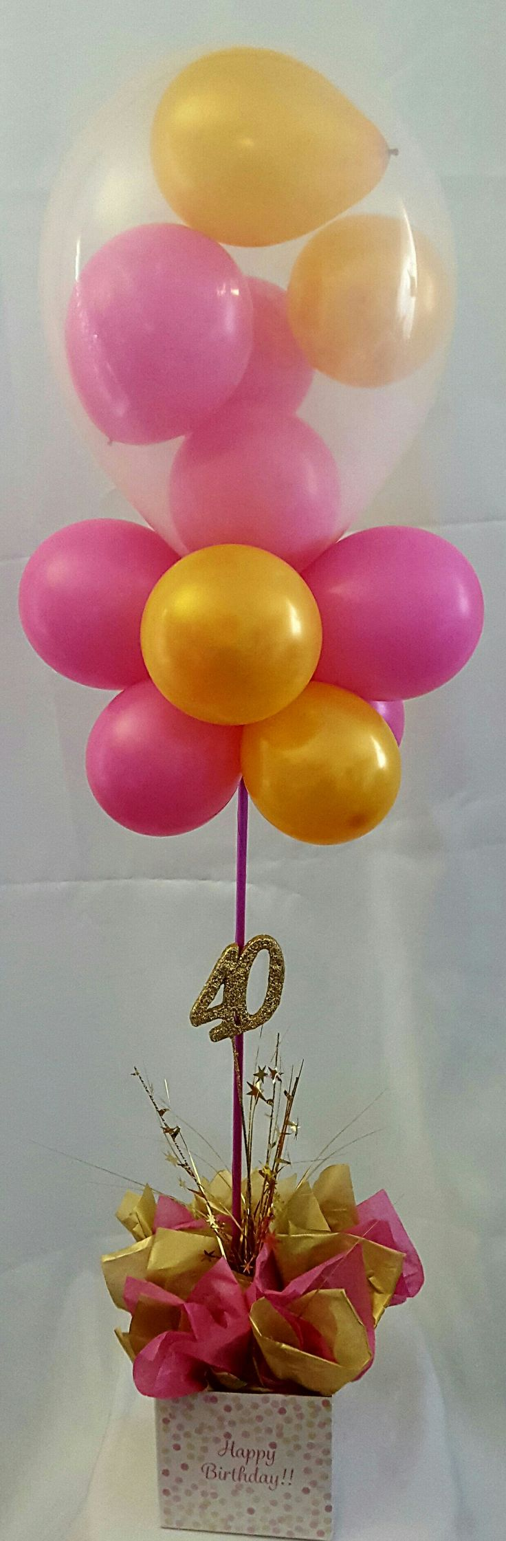 40th balloon topiary in a box with mini balloons inside of a clear balloon #partysolutions #40thbirthday #huntervalley