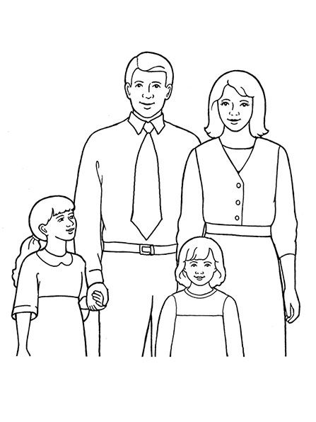 A line drawing of a family of four, from the nursery manual Behold Your Little Ones (2008), page 39.