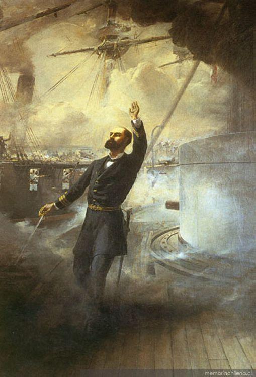 Muerte de Prat en 1879, cuadro de Thomas Somerscales