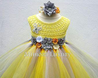 Color de rosa y oro flor chica vestido vestido por MimozaLuxury