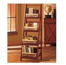 Wooden Ladder Shelf Display Shelves Furniture Baskets Bookshelf Storage 4 Tier