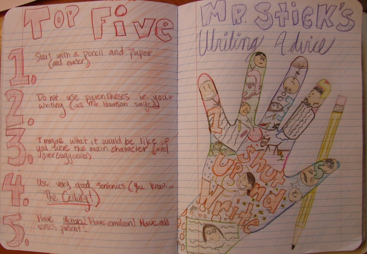 Brooke did a beautiful job of creating this two-page spread of writing advice, using Mr. Stick in an innovative way.