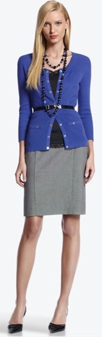 Outfit Posts: outfit post: purple cardigan, black camisole, grey pencil skirt, black wedges