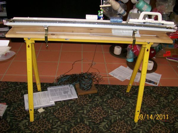 Table for Knitting machine Use Lowes or Home Depot Sawhorse with adjustable height legs