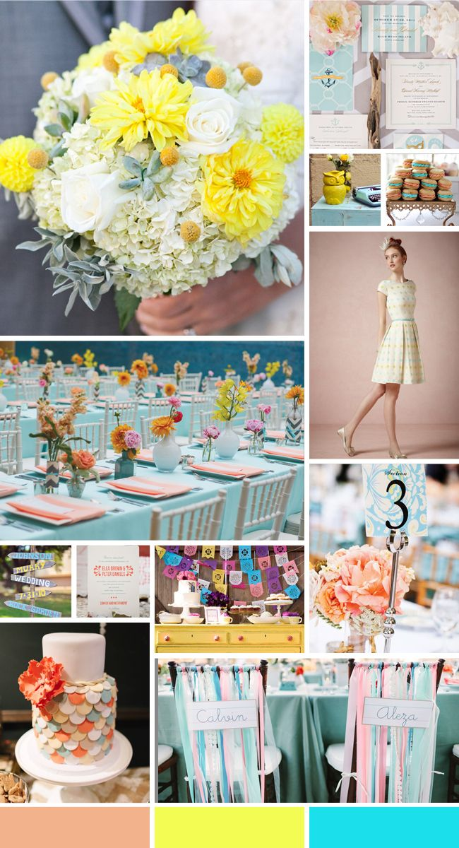 A Whimsical Wedding Color Palette of Aqua, Peach and Yellow - The Knot Blog