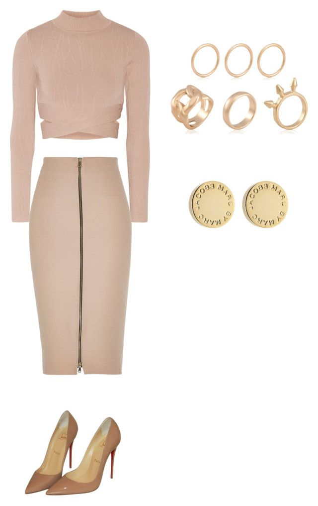 """Nude set"" by sharel-njock on Polyvore featuring Jonathan Simkhai, River Island, Christian Louboutin and Marc by Marc Jacobs"