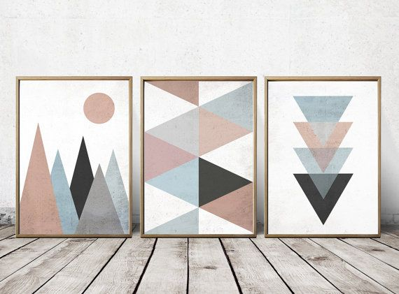 Geometric Design Wall Art : Best ideas about triangle art on triangles