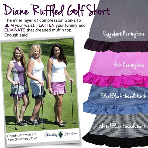 A #golf skort that slims and tones .. yes, PLEASE!     http://www.golf4her.com/Smashing-Diana-Ruffle-Golf-Skort-p/smg-diana.htm: Girly Golf, Golf Clothing, Girls Golf, Golf Fun, Golf Equipment, Golf Fashion, Golf Attire, Golf Fave, Girls N Golf