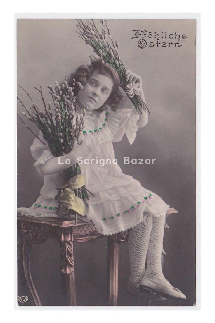EAS 1909 AK Ostern cartolina fotografica Pasqua foto bambina rami di salice | eBay