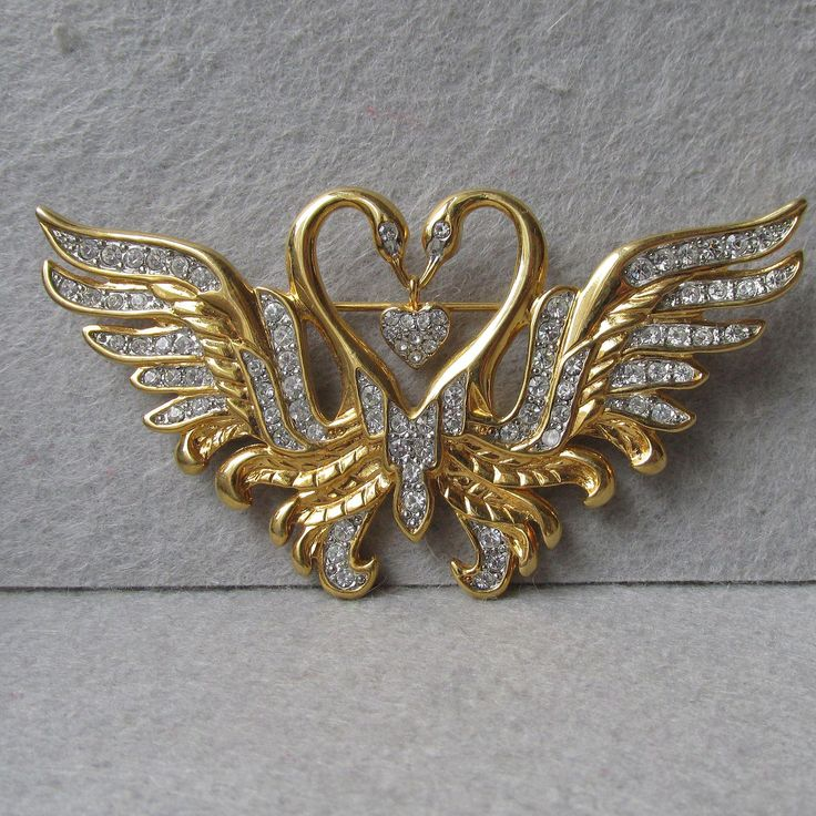 Signed Nolan Miller Two Swans with Dangling Heart Rhinestone Vintage Pin Brooch