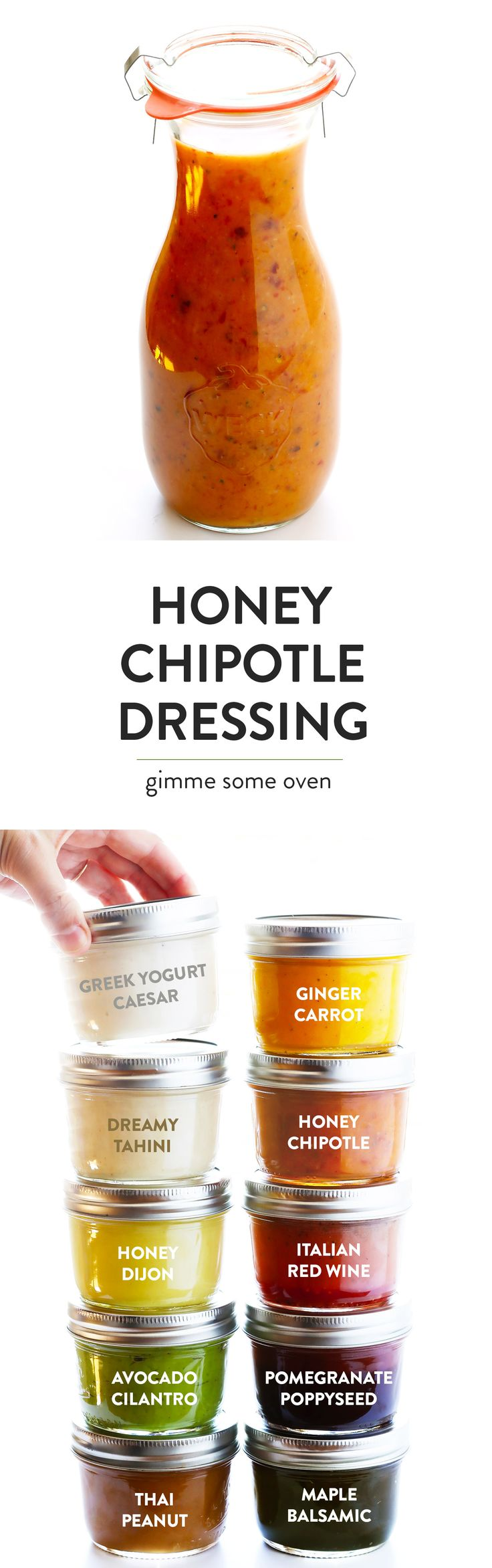 The BEST Honey Chipotle Salad Dressing recipe!!! It's quick and easy to make in the blender, and it's full of zesty ingredients from chipotles in adobo to lime juice to sweet honey and more. Perfect for salads, or used as a marinade for chicken or vegetables, and more! | gimmesomeoven.com (Vegetarian / Gluten-Free)
