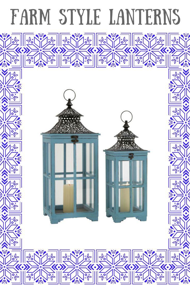 Set of 2 Wood Metal Glass Lantern Farm Style Home Decor. #homedecor #farmstyle #boho #rustic #rusticdecor *aff*